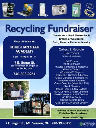 Drop off items at: CHRISTIAN STAR ACADEMY 9 am – 3:30 pm   M – F 7 E. Sugar St.
