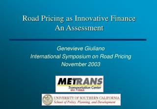Road Pricing as Innovative Finance An Assessment