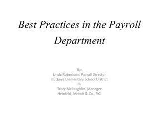 Best Practices in the Payroll Department