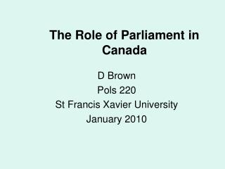 The Role of Parliament in Canada