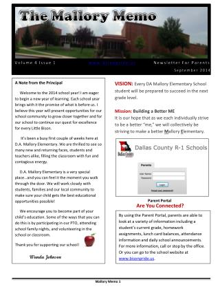 Volume 4 Issue 1                     bisonpride      Newsletter  For Parent s