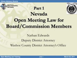 Part 1 Nevada  Open Meeting Law for Board/Commission Members