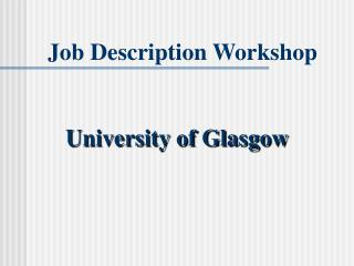 Job Description Workshop
