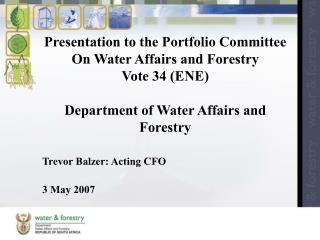 Trevor Balzer: Acting CFO 3 May 2007