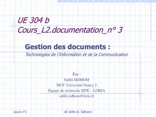 UE 304 b Cours_L2.documentation_n° 3