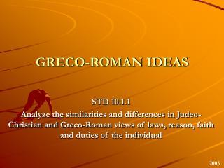GRECO-ROMAN IDEAS