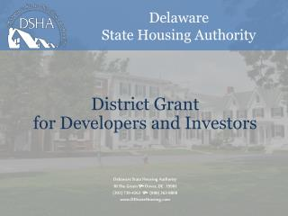 District Grant for Developers and Investors
