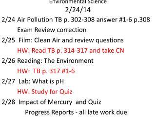 Environmental Science  2/24/14