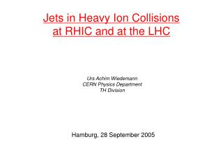 Jets in Heavy Ion Collisions at RHIC and at the LHC