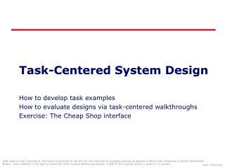 Task-Centered System Design
