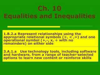 Ch. 10  Equalities and Inequalities