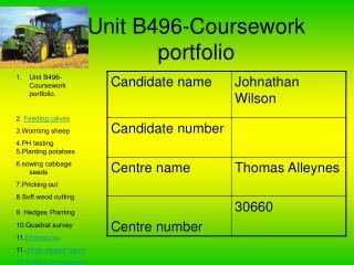 Unit B496-Coursework portfolio