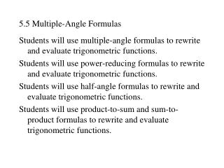 5.5 Multiple-Angle Formulas