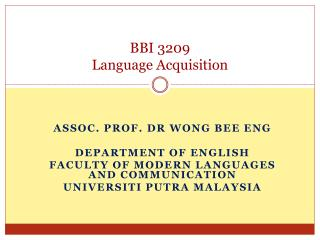 BBI 3209 Language Acquisition