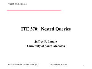 ITE 370:  Nested Queries