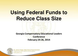 Using Federal Funds to Reduce Class Size