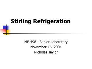 Stirling Refrigeration