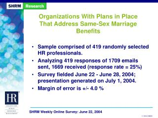 Organizations With Plans in Place That Address Same-Sex Marriage Benefits