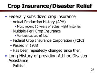 Crop Insurance/Disaster Relief