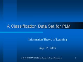 A Classification Data Set for PLM