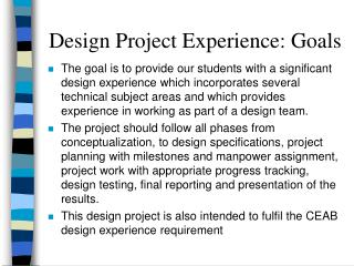 Design Project Experience: Goals