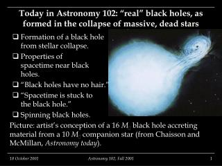 "Today in Astronomy 102: ""real"" black holes, as formed in the collapse of massive, dead stars"