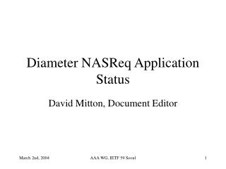 Diameter NASReq Application Status