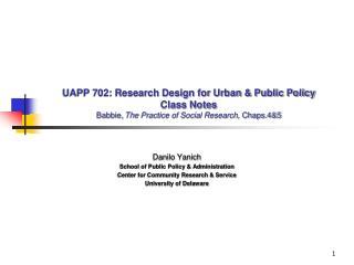Danilo Yanich School of Public Policy & Administration Center for Community Research & Service