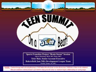 "Sports Franchise Project ""Brain Storm"" Session [Sports Marketing; MKTG.405; Winter 2007]"