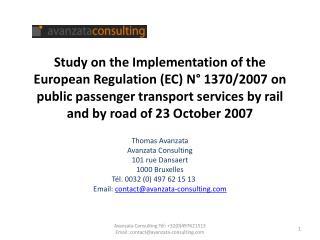 Thomas  Avanzata Avanzata  Consulting 101 rue  Dansaert 1000 Bruxelles Tél. 0032 (0) 497 62 15 13