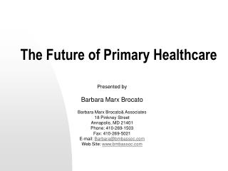 The Future of Primary Healthcare