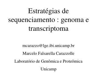 Estratégias de sequenciamento : genoma e transcriptoma mcarazzo@lge.ibi.unicamp.br