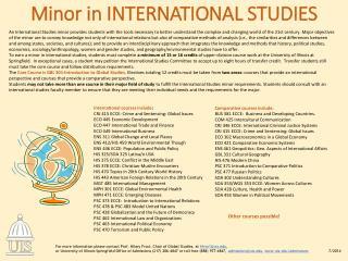 Minor in  international Studies