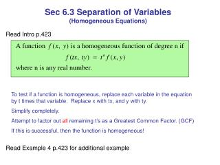 Sec 6.3 Separation of Variables  (Homogeneous Equations)
