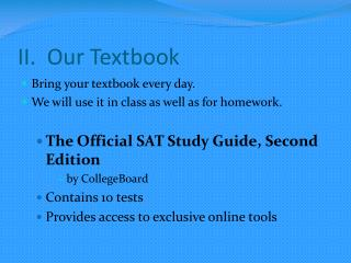 II.  Our Textbook