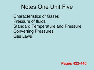 Notes One Unit Five