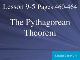 Lesson 9-5 Pages 460-464