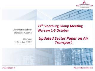 27 th Voorburg  Group Meeting  Warsaw 1-5 October