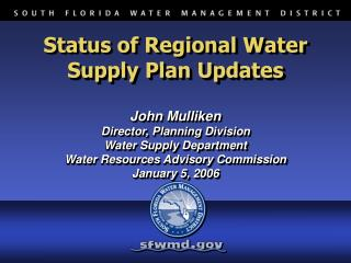 Status of Regional Water Supply Plan Updates