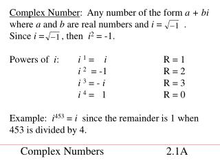 Complex Numbers              2.1A