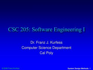 CSC 205: Software Engineering I