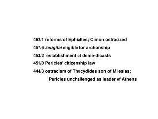 462/1 reforms of Ephialtes; Cimon ostracized 457/6  zeugitai  eligible for archonship
