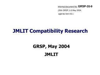 JMLIT Compatibility Research