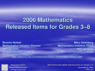 2006 Mathematics  Released Items for Grades 3–8