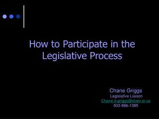 How to Participate in the Legislative Process