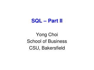 SQL – Part II