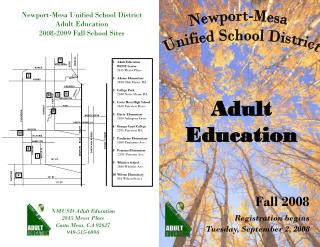 NMUSD Adult Education 2045 Meyer Place Costa Mesa, CA 92627 949-515-6996