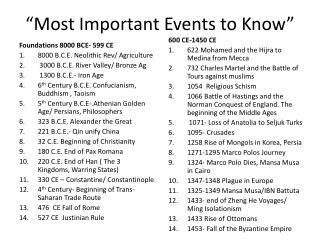 """""""Most Important Events to Know"""""""
