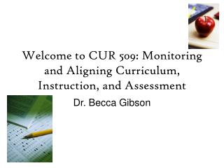 Welcome to CUR 509: Monitoring and Aligning Curriculum, Instruction, and Assessment