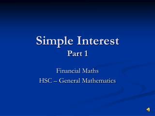 Simple Interest Part 1
